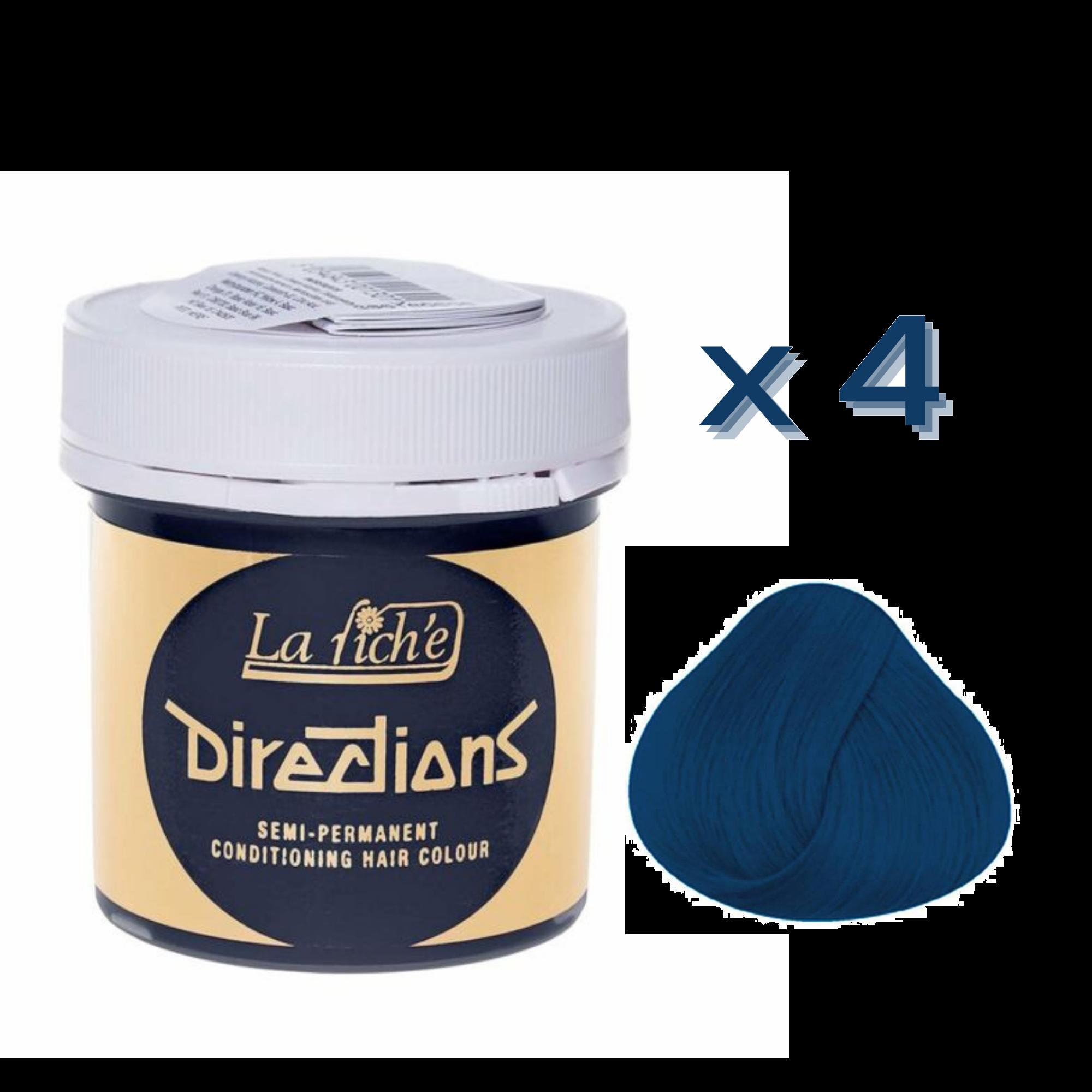 4 x La Riche Directions Semi-Permanent Hair Color 88ml Tubs - DENIM BLUE