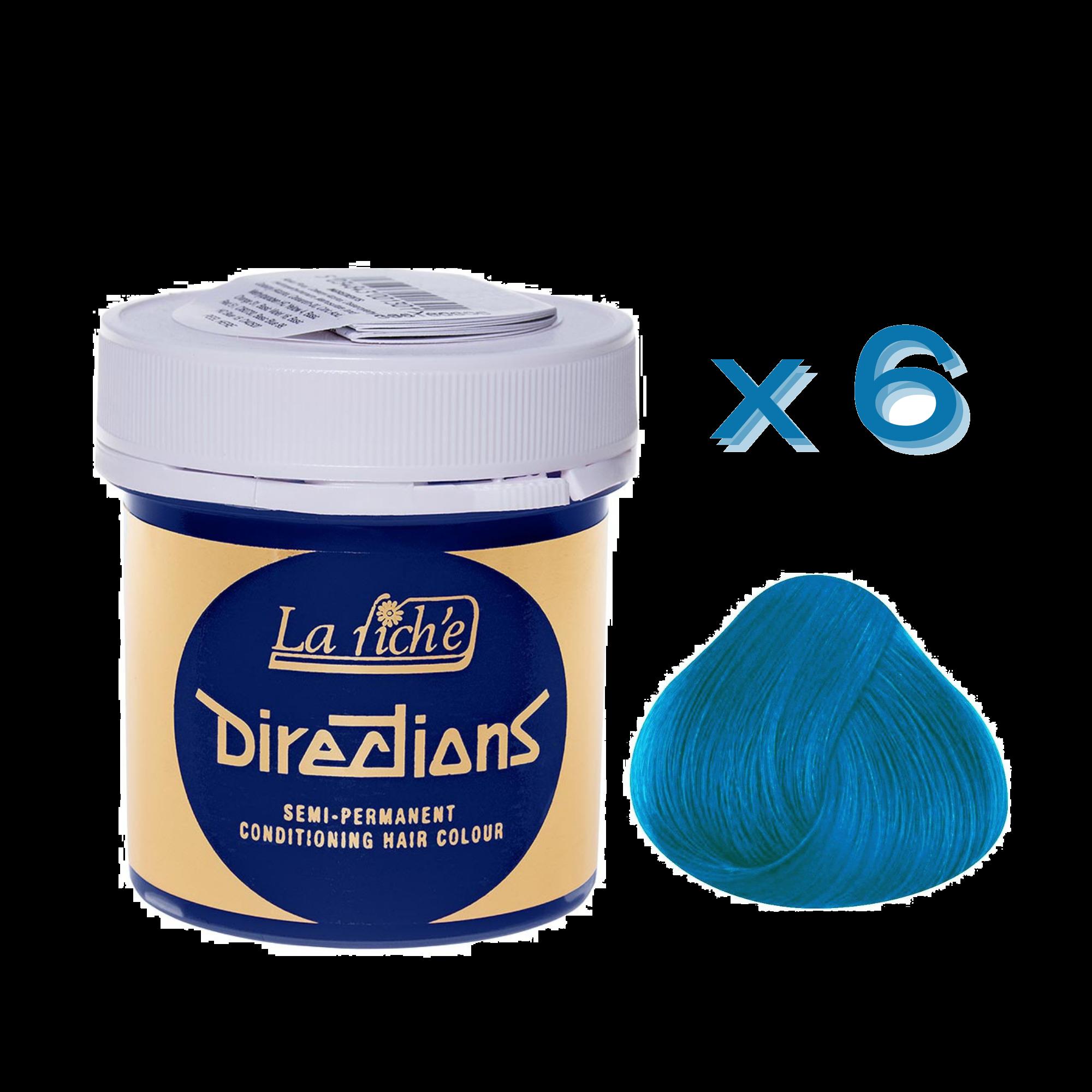 6 x La Riche Directions Semi-Permanent Hair Color 88ml Tubs - LAGOON BLUE