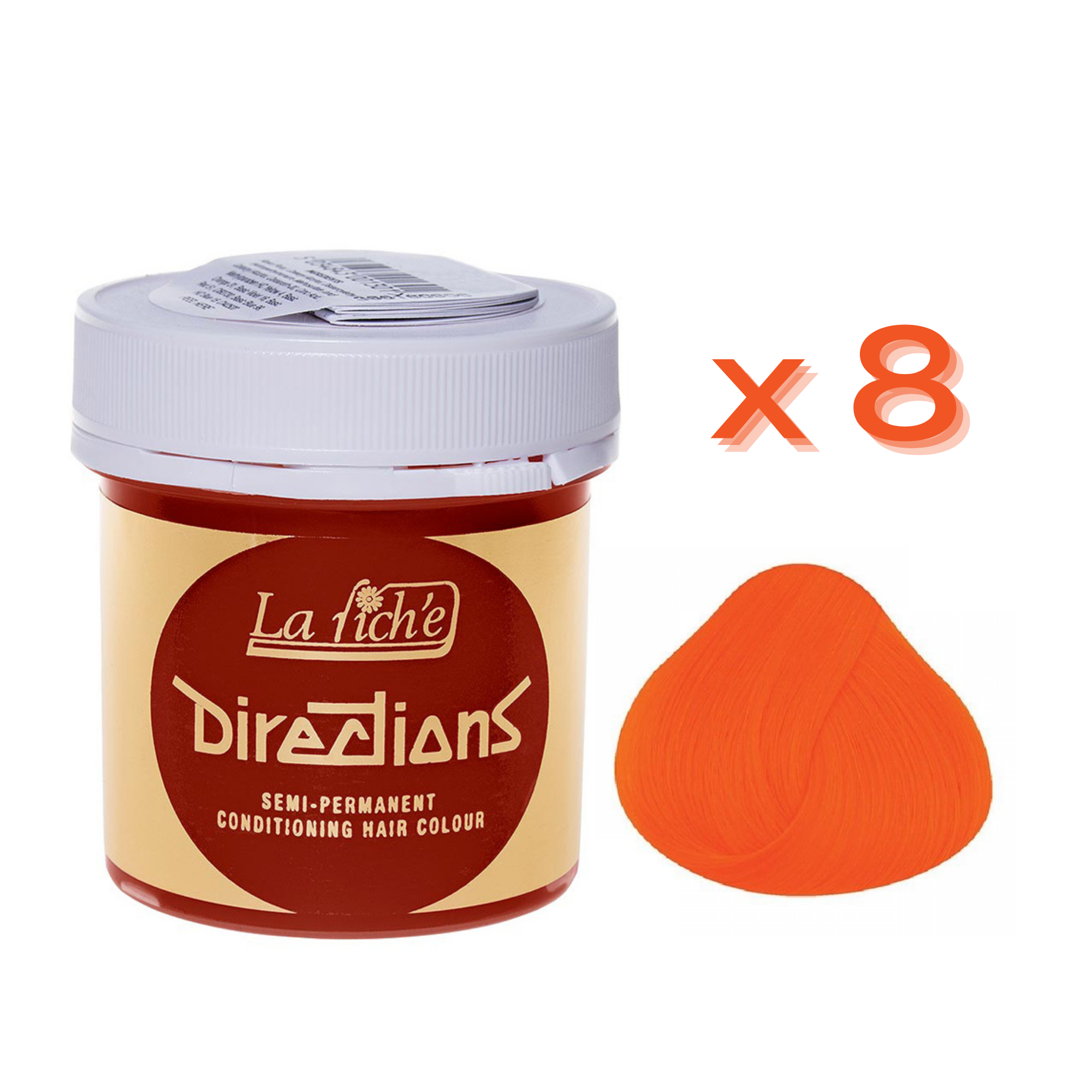 8 x La Riche Directions Semi-Permanent Hair Color 88ml Tubs - MANDARIN