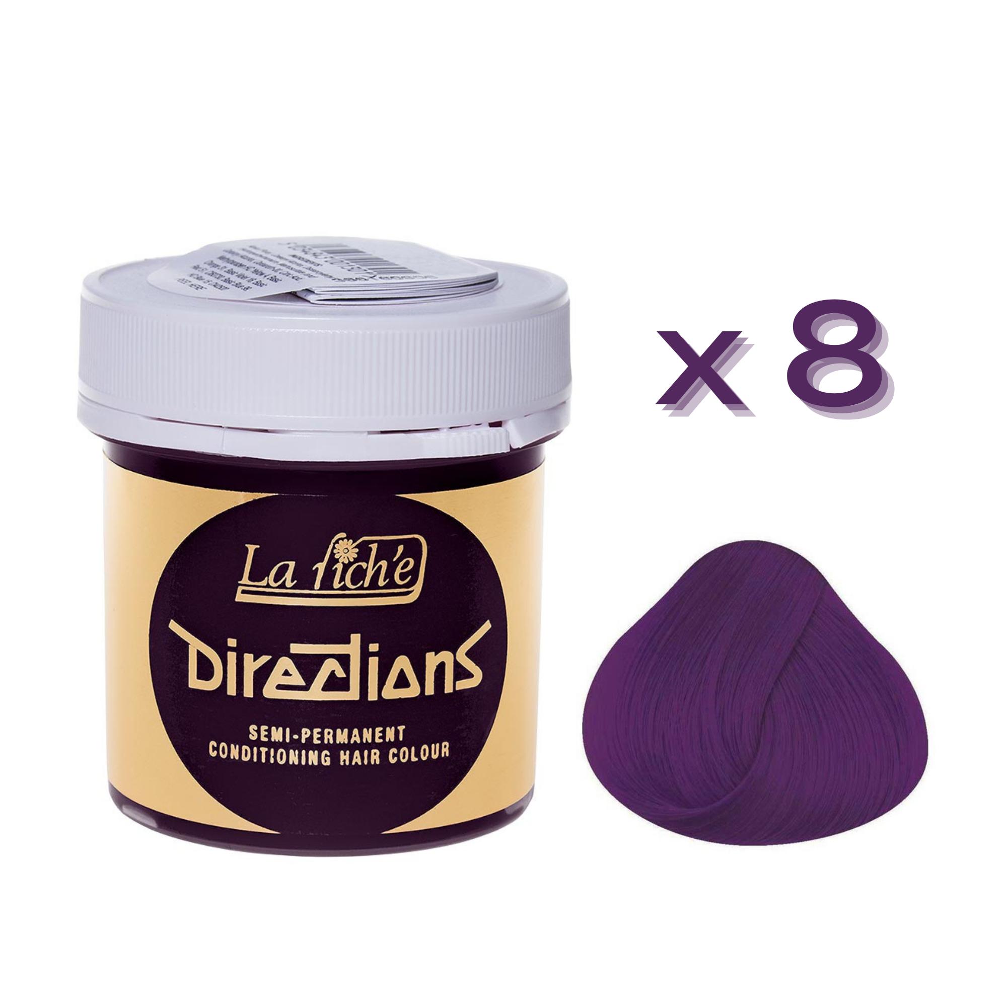 8 x La Riche Directions Semi-Permanent Hair Color 88ml Tubs - PLUM