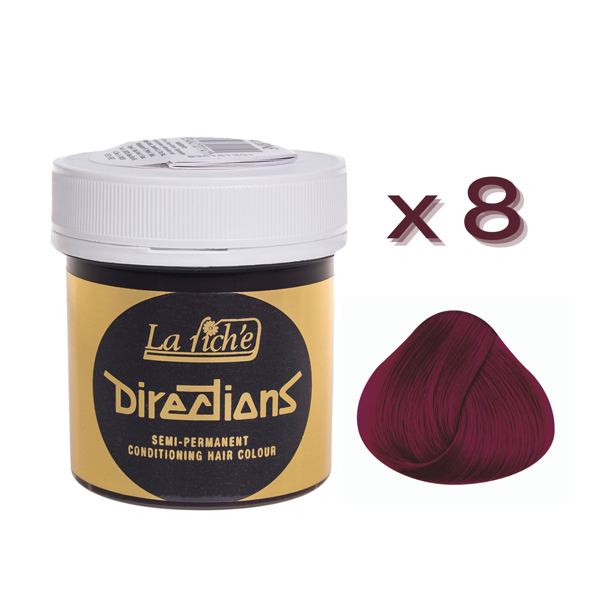 8 x La Riche Directions Semi-Permanent Hair Color 88ml Tubs - RUBINE