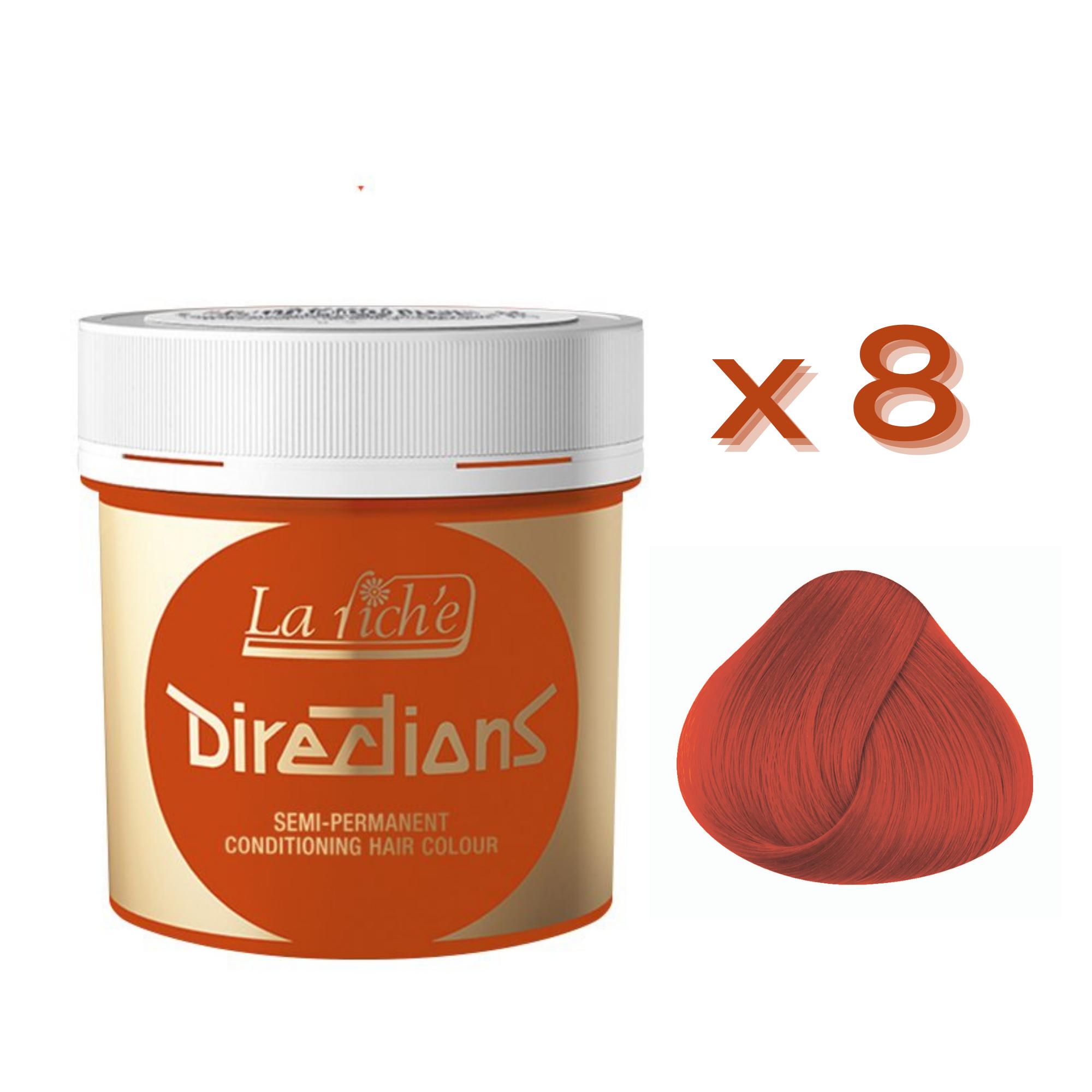 8 x La Riche Directions Semi-Permanent Hair Color 88ml Tubs - TANGERINE