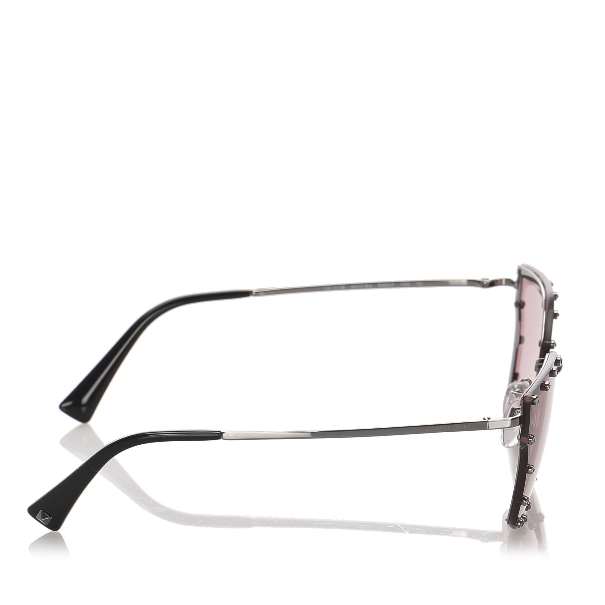 Valentino Crystal Embelished Square Sunglasses Red