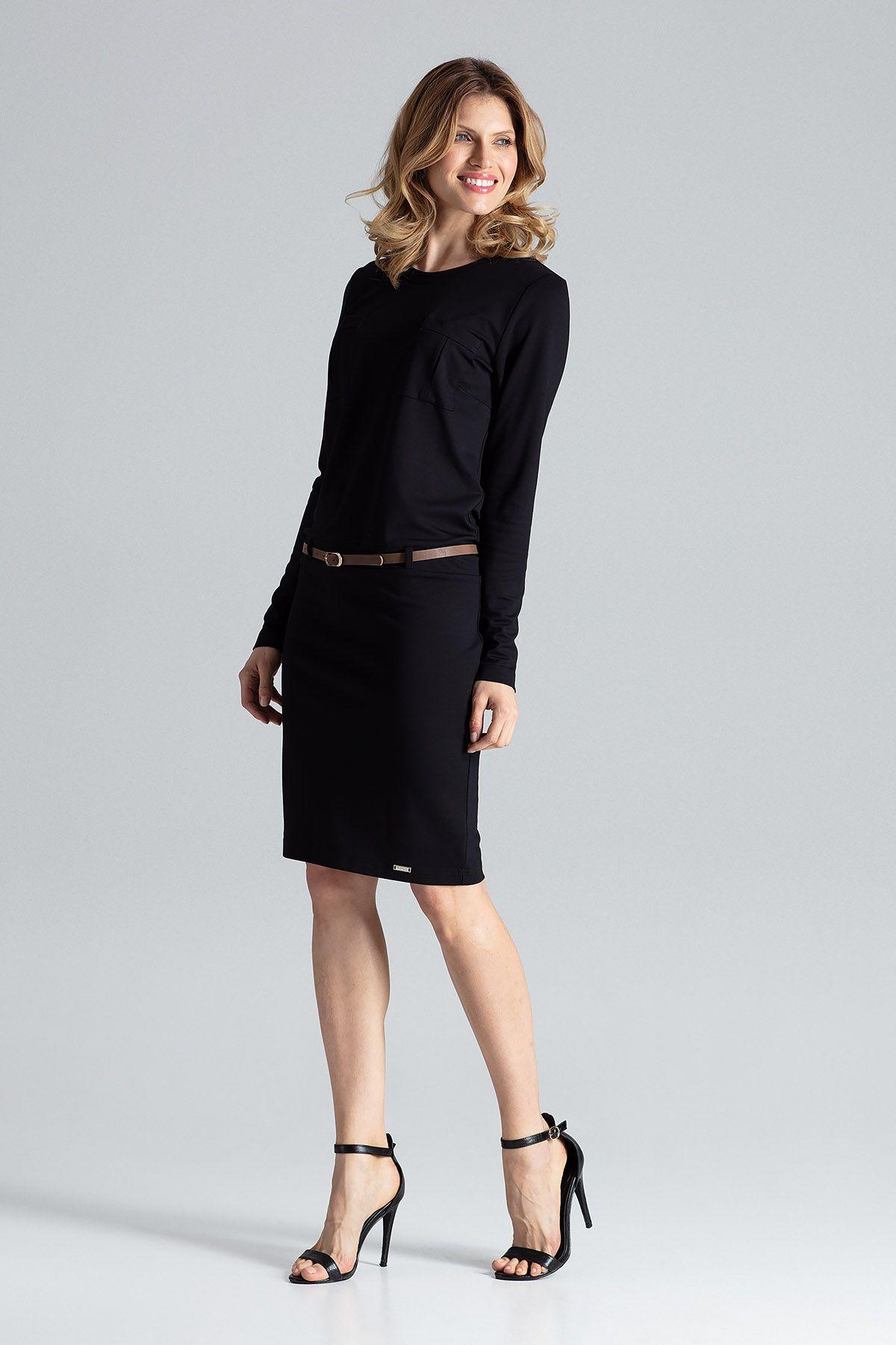 Black Comfy Long-Sleeve Dress