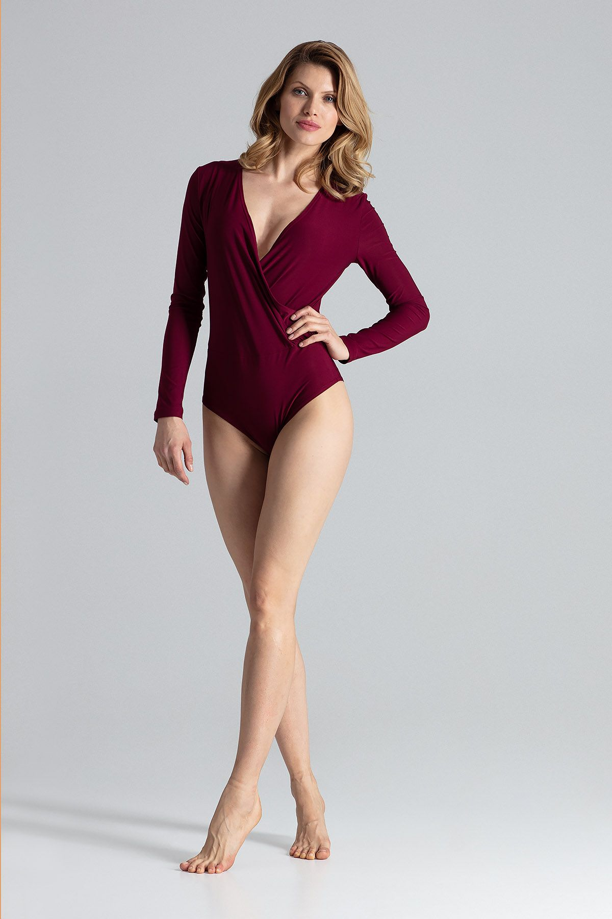 Red Body With Long Sleeves, V-Neckline