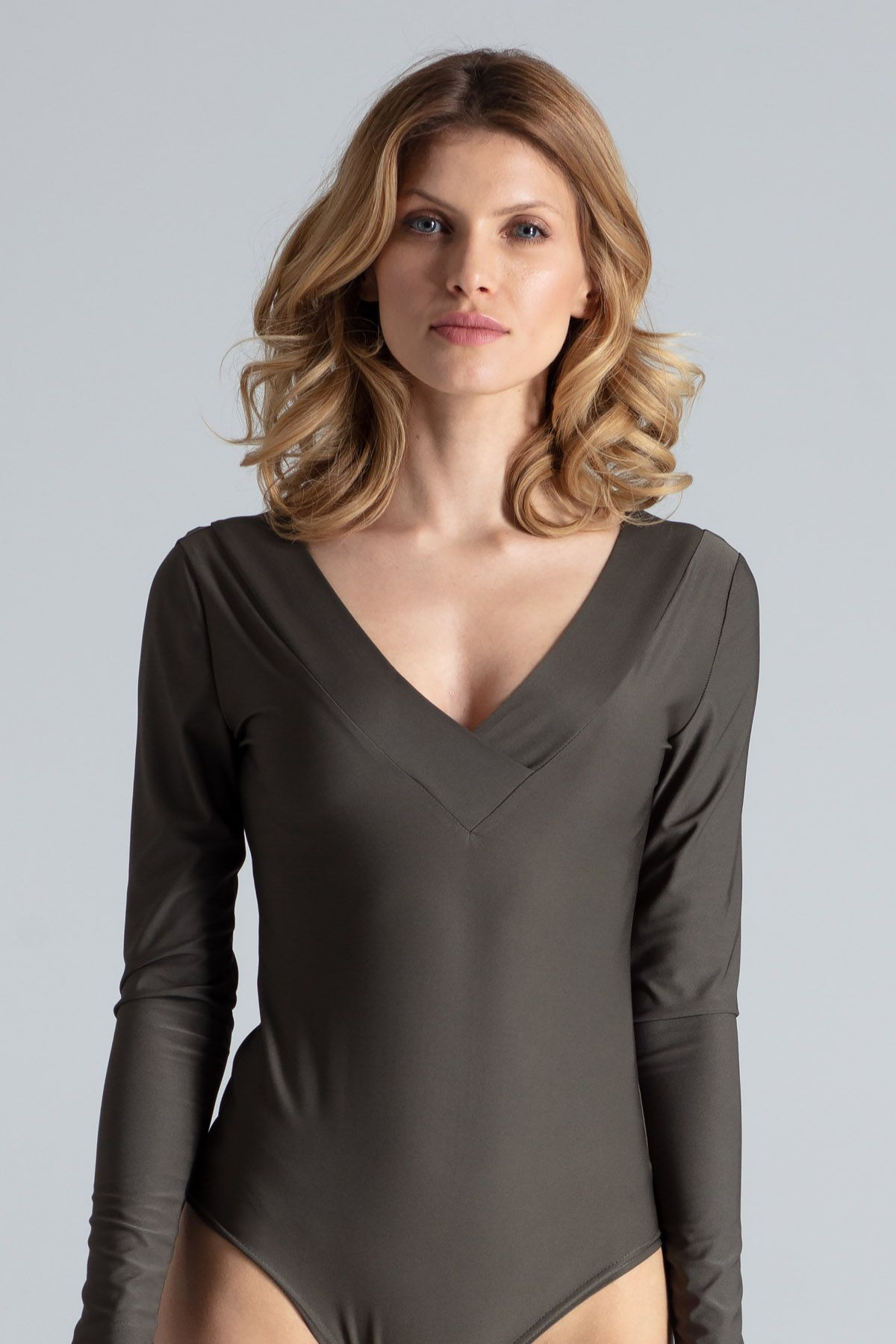 Grey V-Neck Body with Cut Out Back