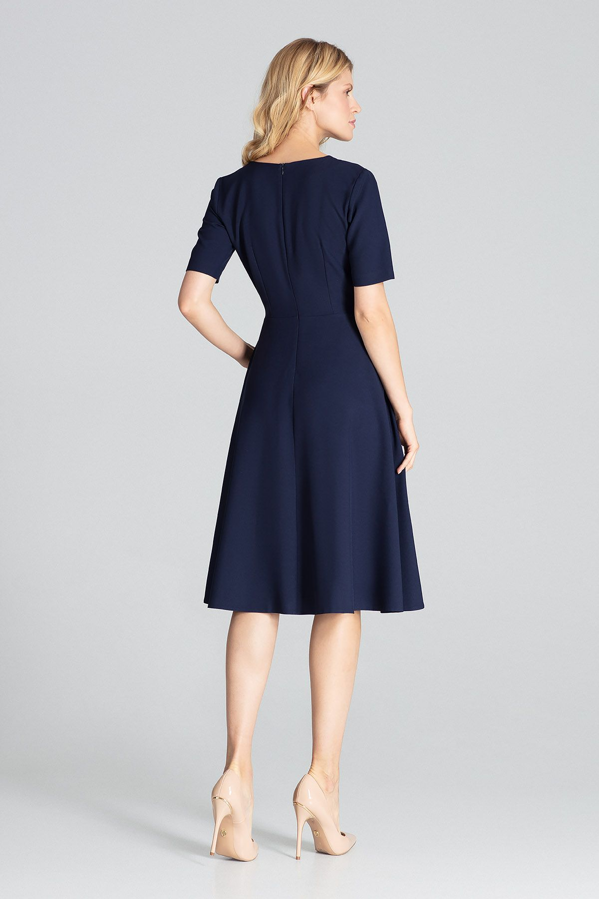 Navy Midi Dress with Short Sleeves
