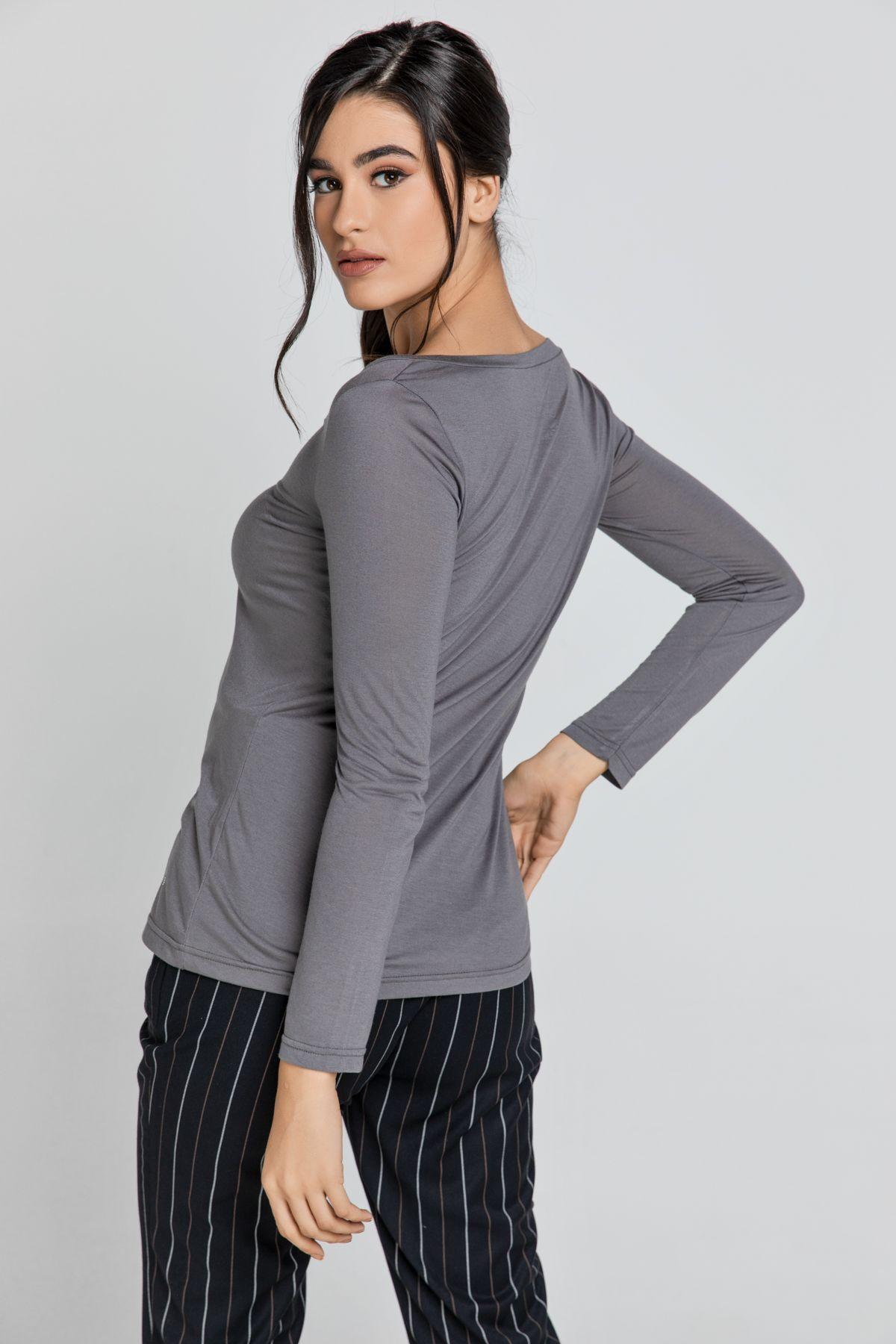 Dark Grey V Neck Top by SWL