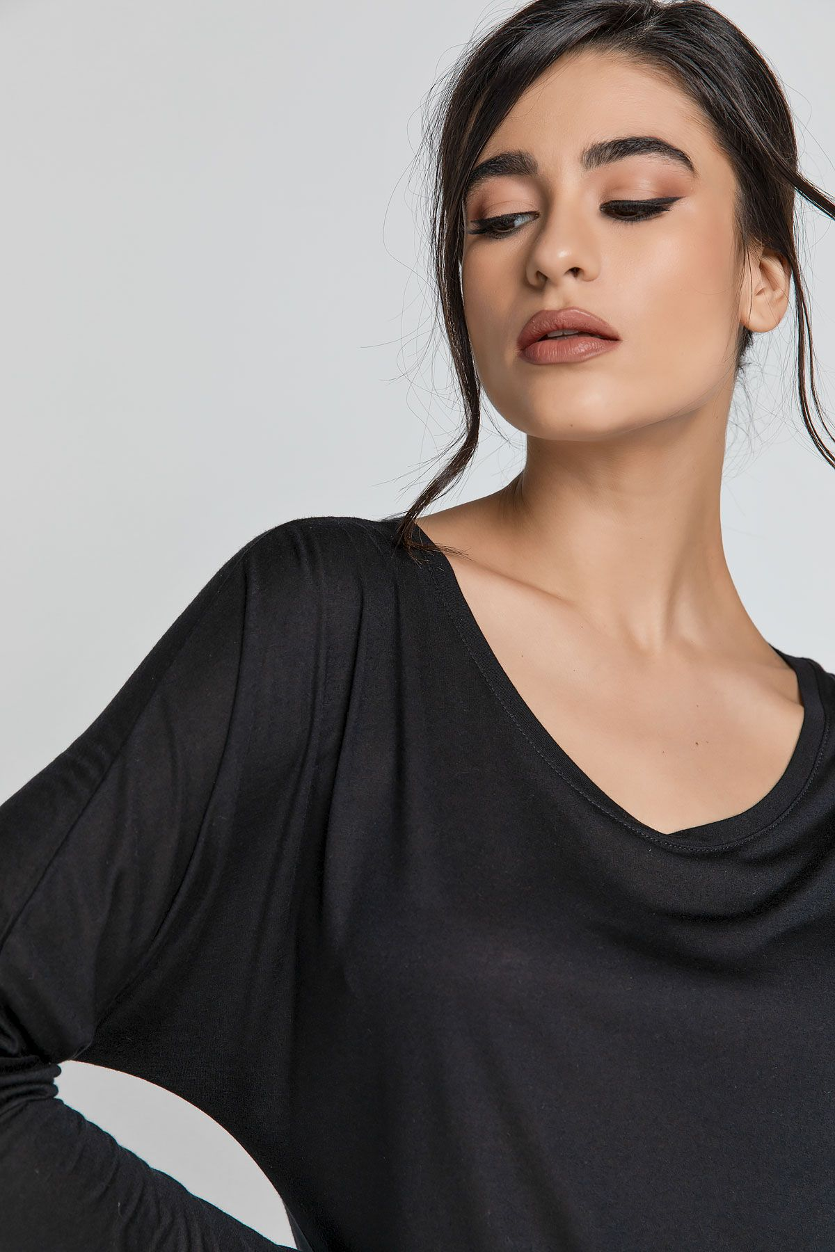 Black Top with Long Batwing Sleeves by SWL