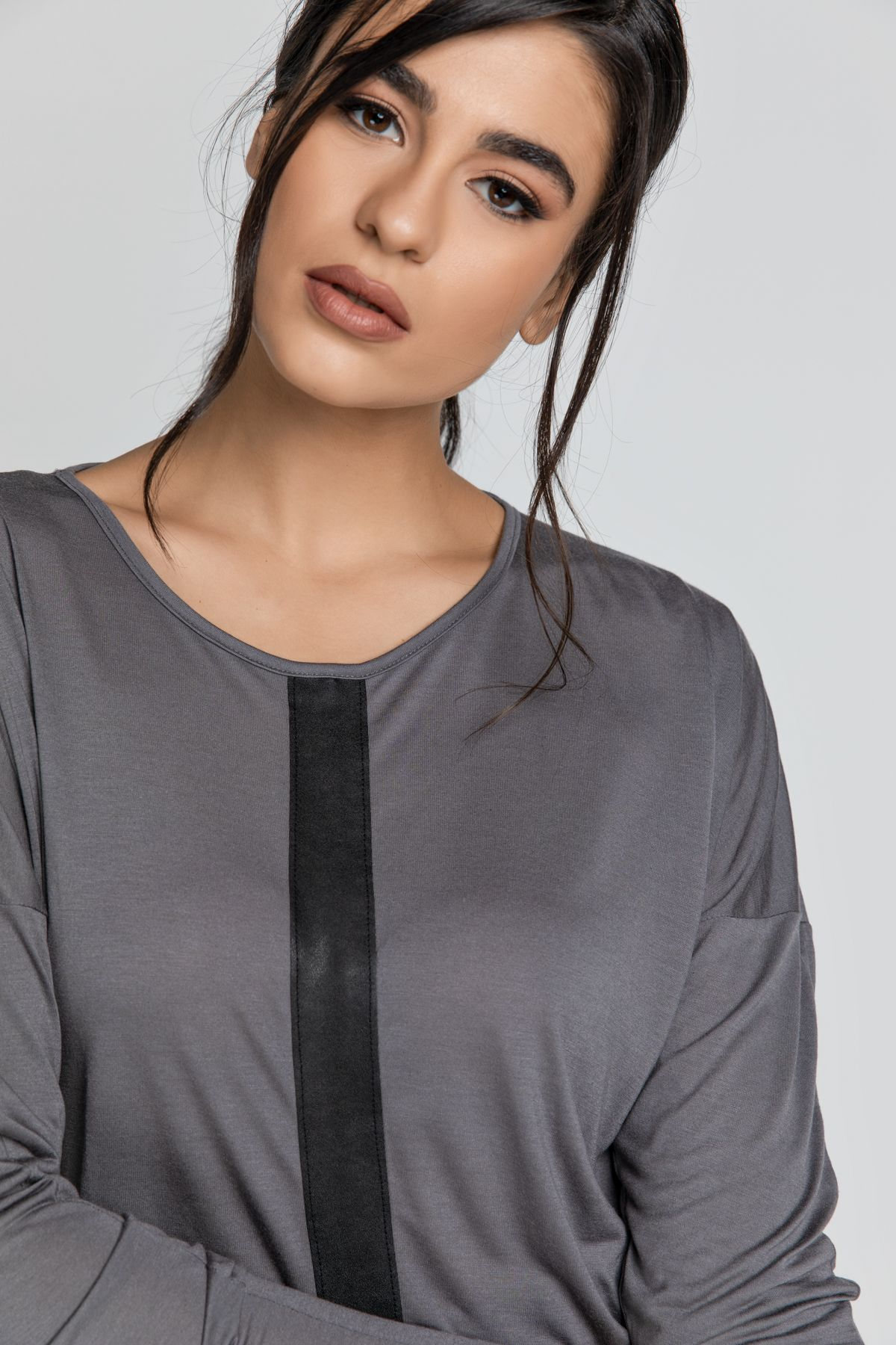 Dark Grey Top with Faux Leather Detail