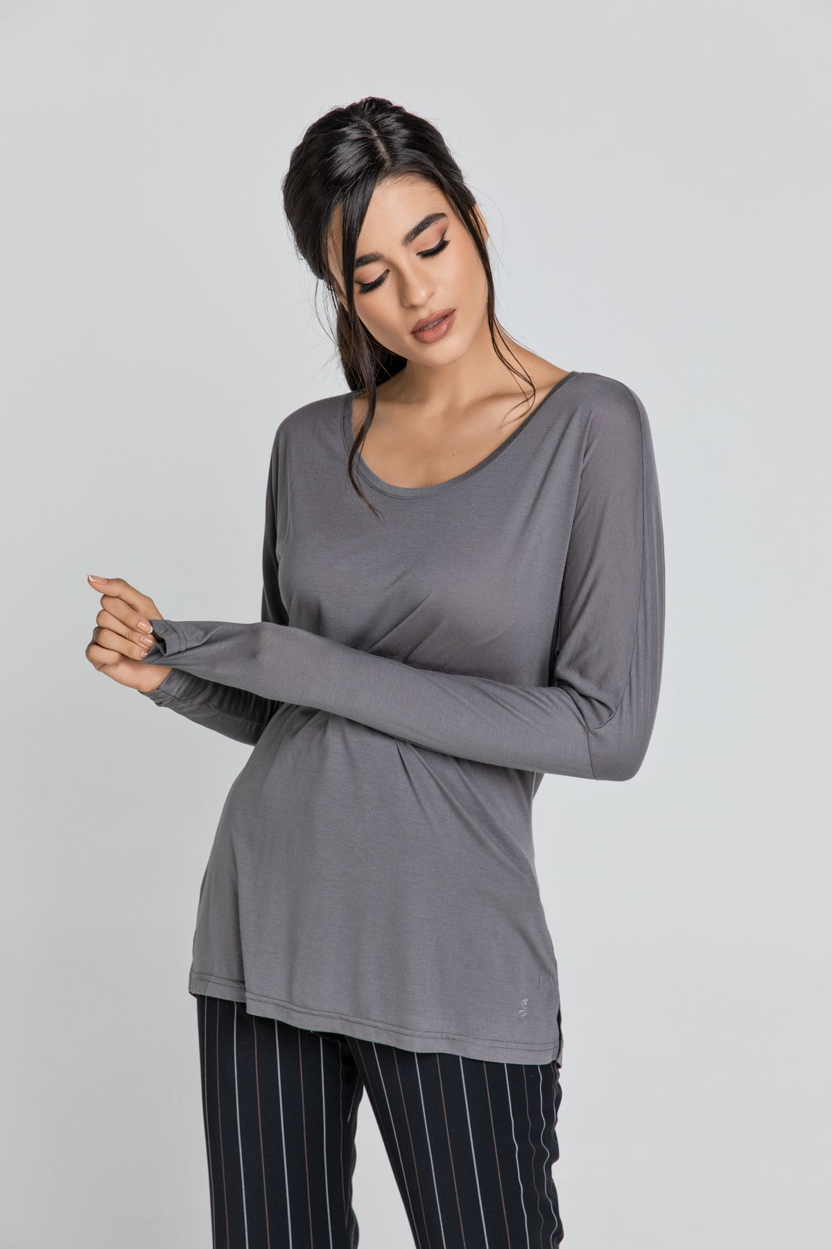 Dark Grey Top with Long Batwing Sleeves