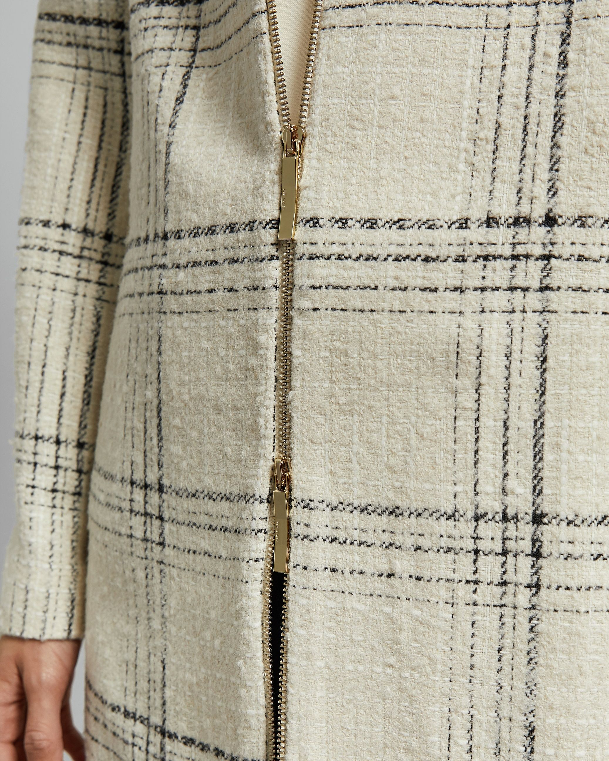 Ted Baker Mairey Boucle Checked Coat, White