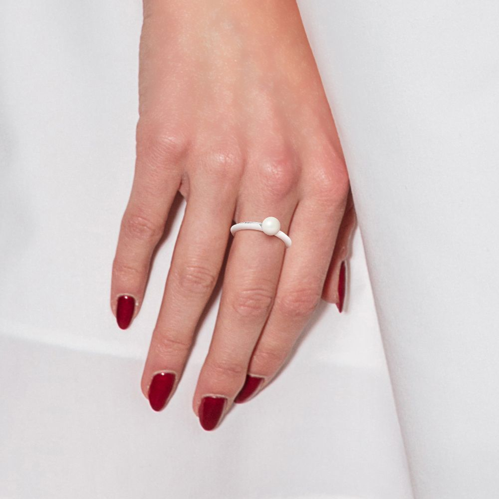 DIADEMA - Ring - Diamonds and White Gold - Real Freshwater Pearls - White
