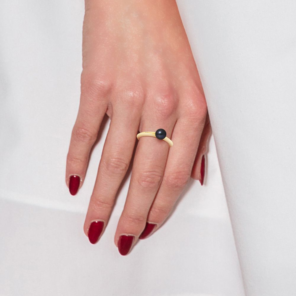 DIADEMA - Ring - Diamonds and Yellow Gold - Real Freshwater Pearls - Black Tahitian Style