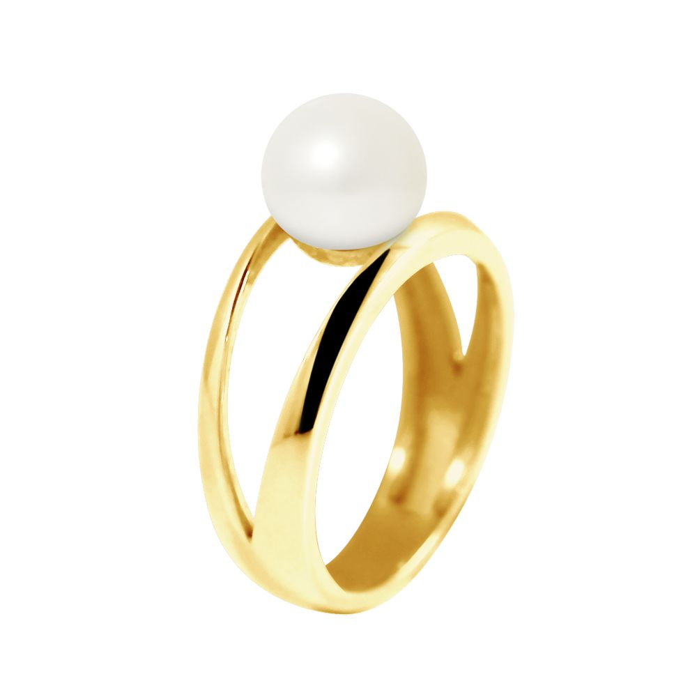DIADEMA - Ring in Yellow Gold - Real Freshwater Pearls