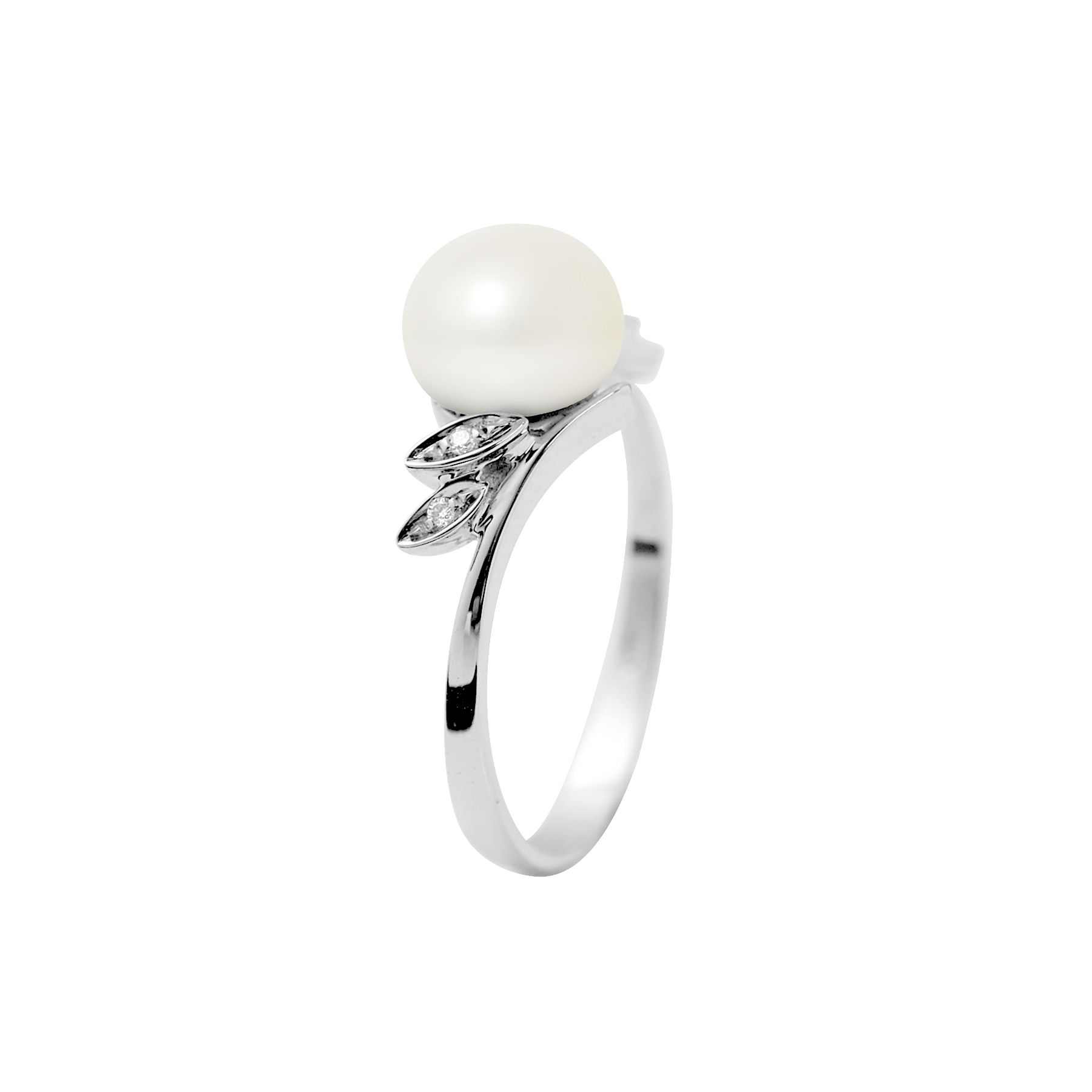 DIADEMA - Ring - White Gold - Real Freshwater Pearls - White