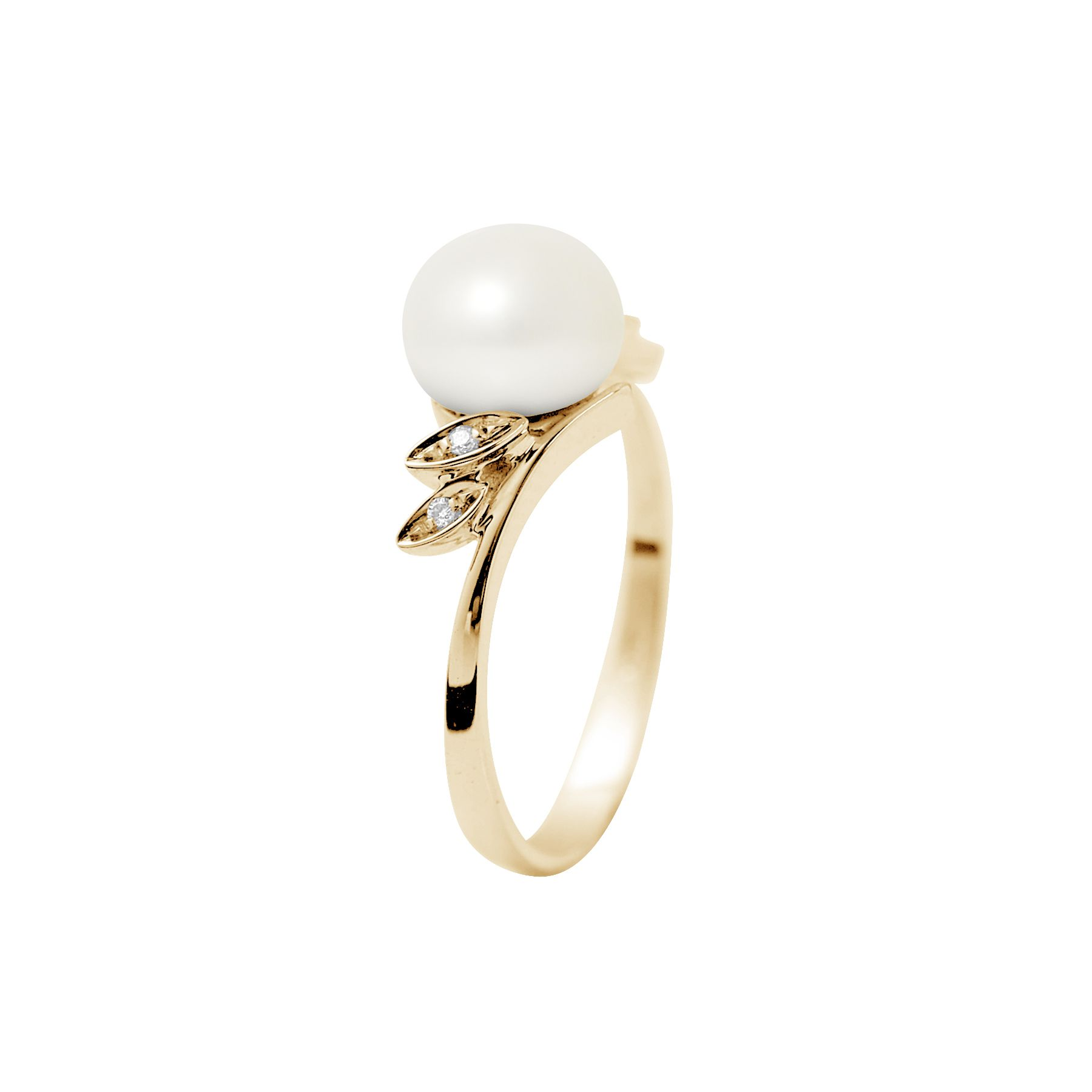 DIADEMA - Ring - Yellow Gold - Real Freshwater Pearls - White