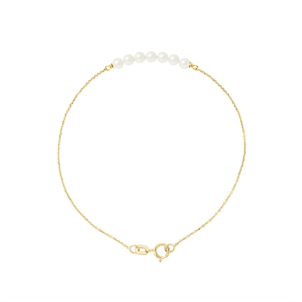 DIADEMA - Bracelet - 7 Real Freshwater Pearls - Cable Chain in Yellow Gold
