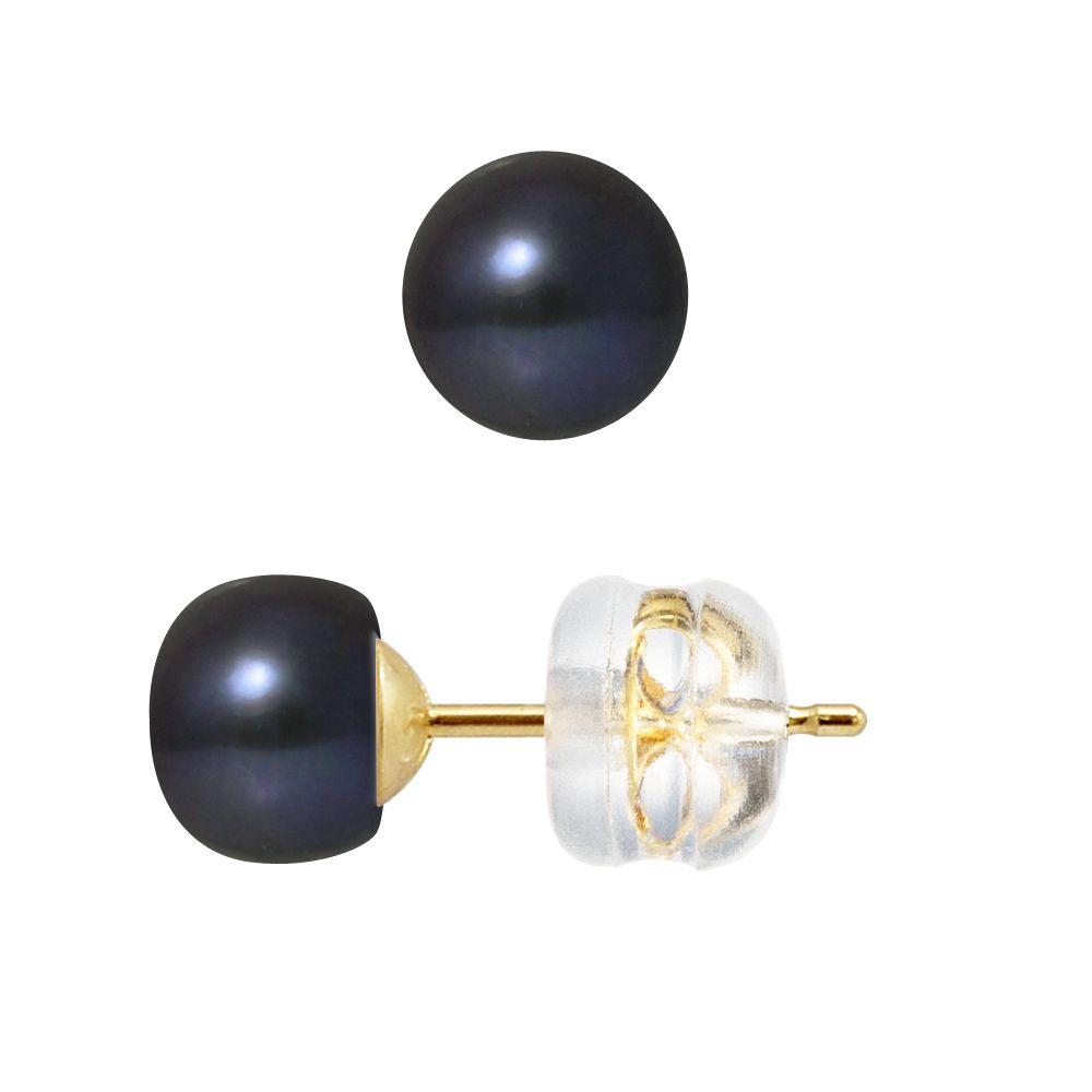 DIADEMA - Earrings - Real Freshwater Pearls - Black Tahitian Style - Yellow Gold