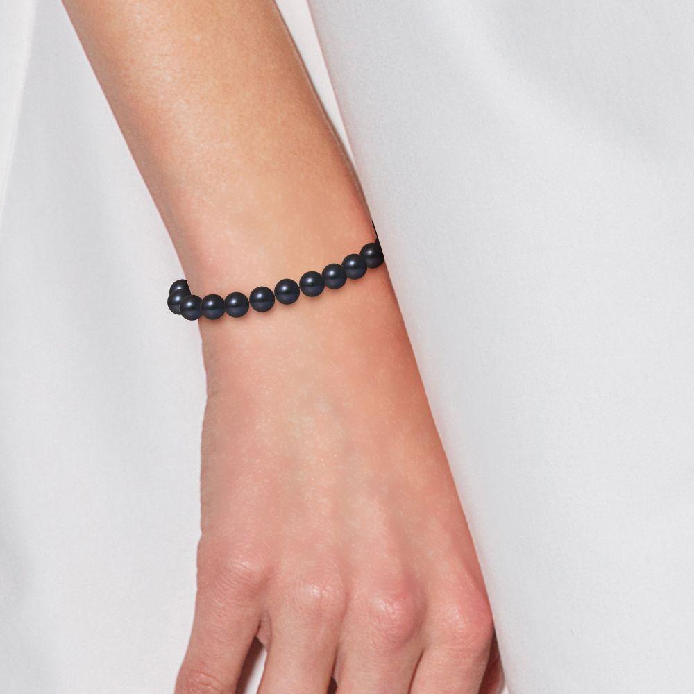 DIADEMA - Bracelet - Real Freshwater Pearls - Black Tahitian Style- Yellow Gold