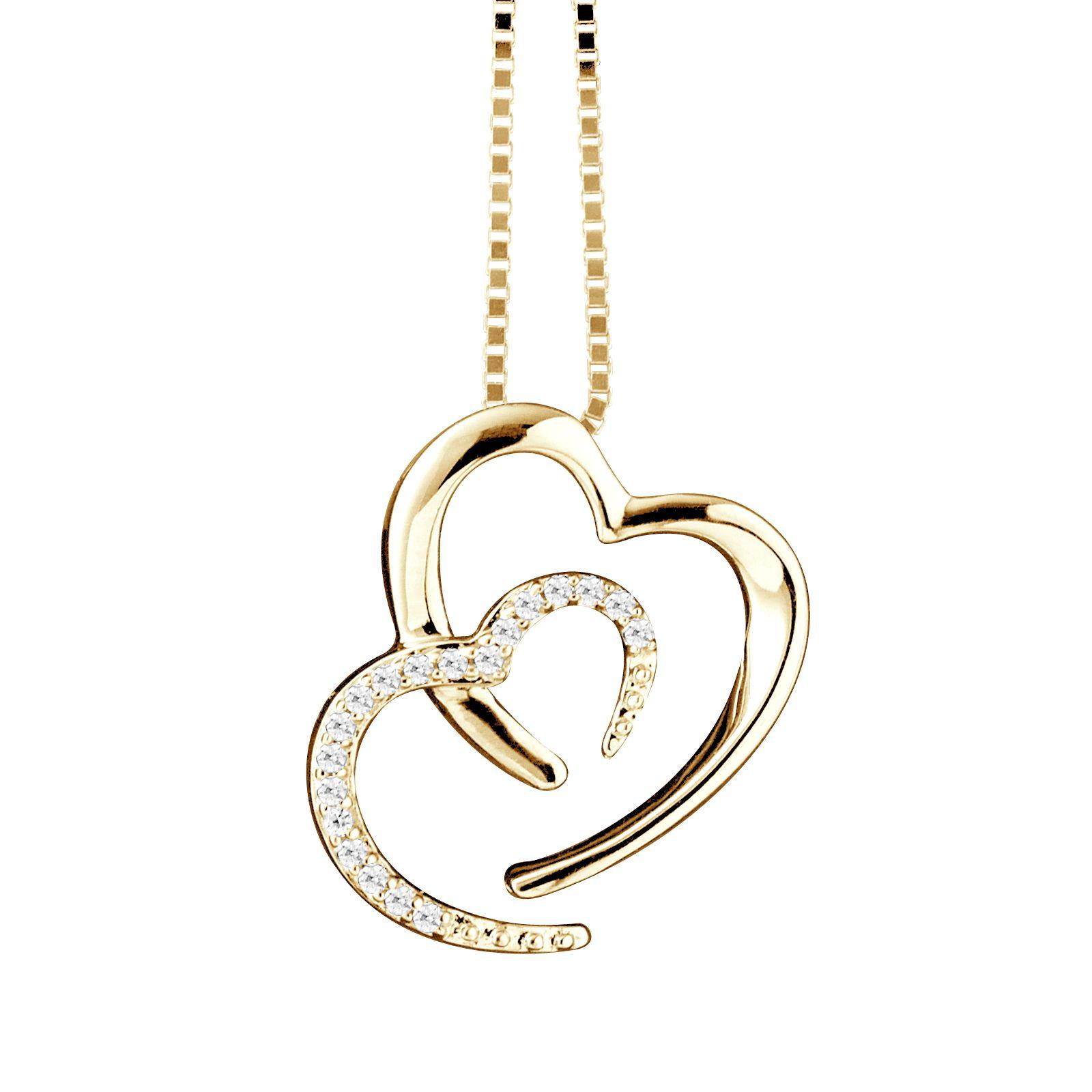 DIADEMA - Necklace Two Hearts - Prestige Jewelery - Diamonds - Chain Yellow Gold