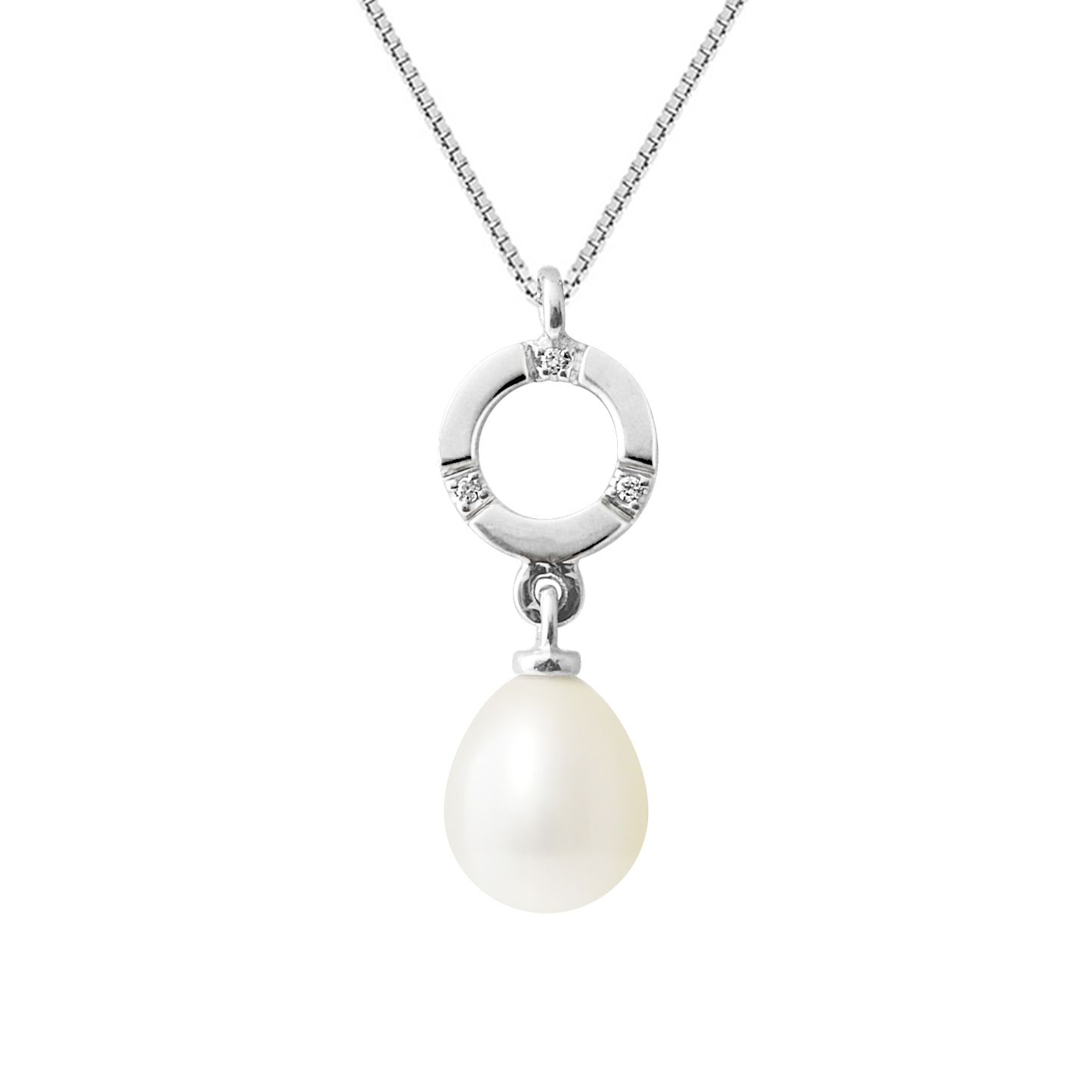 DIADEMA - Pendant - White Gold and Real Freshwater Pearls - White