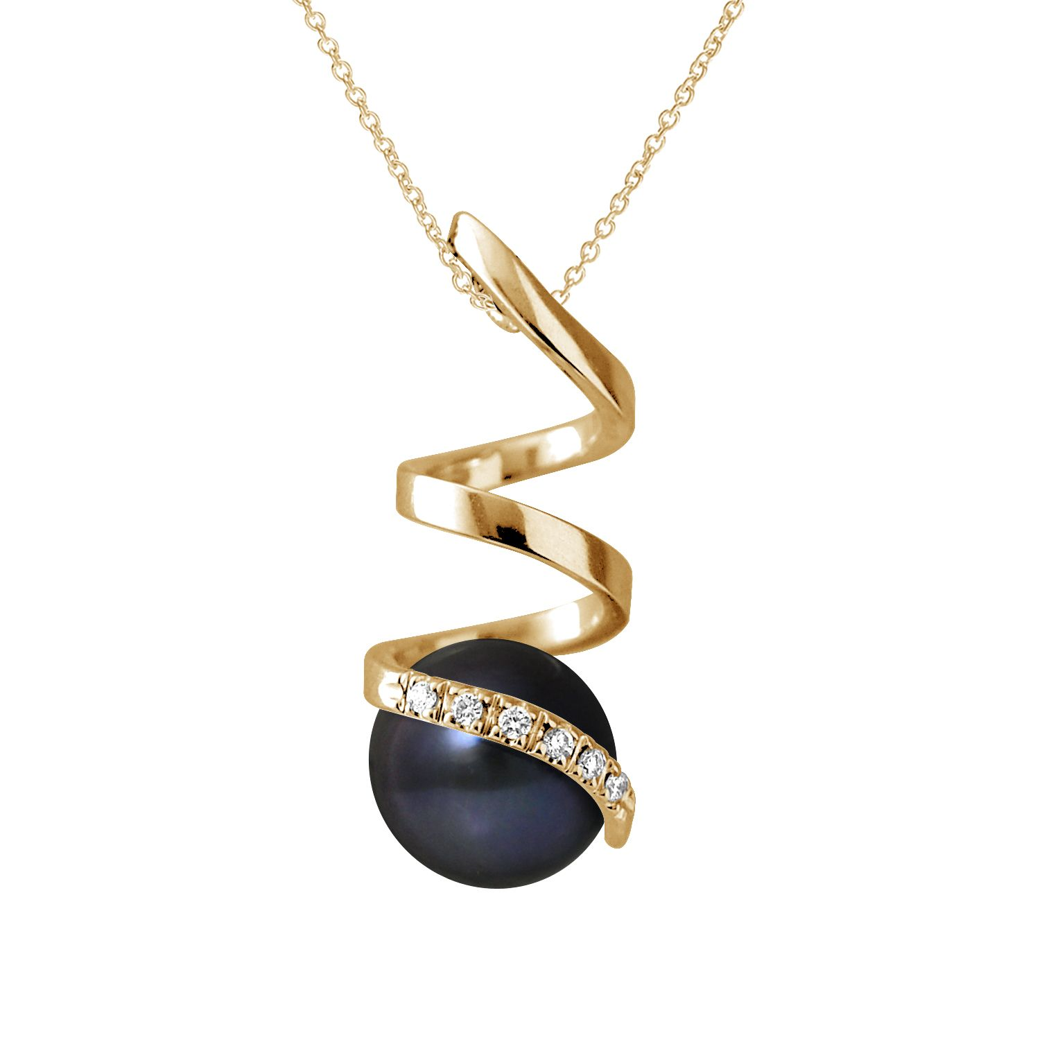 DIADEMA - Pendant - Yellow Gold and Real Freshwater Pearls - Black