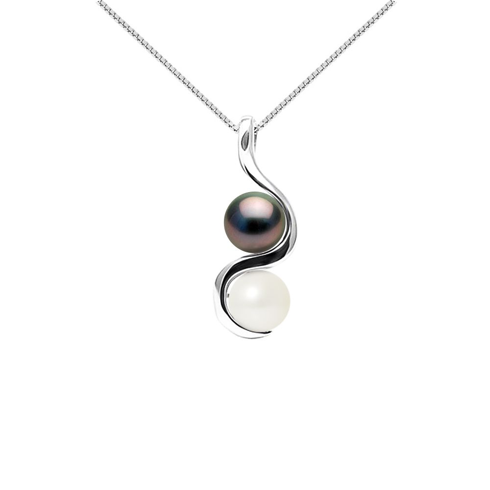 DIADEMA - Pendant You & Me in White Gold - Real Freshwater Pearls and Tahitian Pearls - White