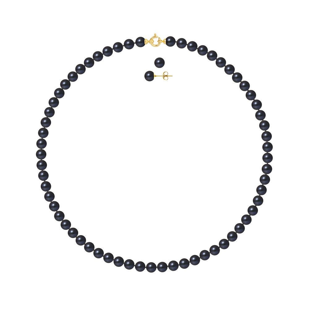 DIADEMA - Set - Necklace/Earrings - Real Freshwater Pearls - Black Tahitian Style - Yellow Gold
