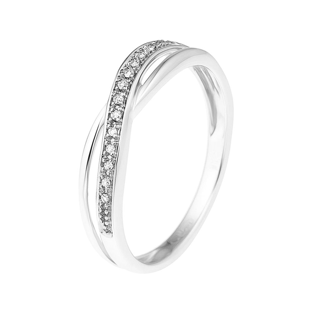 DIADEMA - Ring - Crossed - Diamonds - White Gold