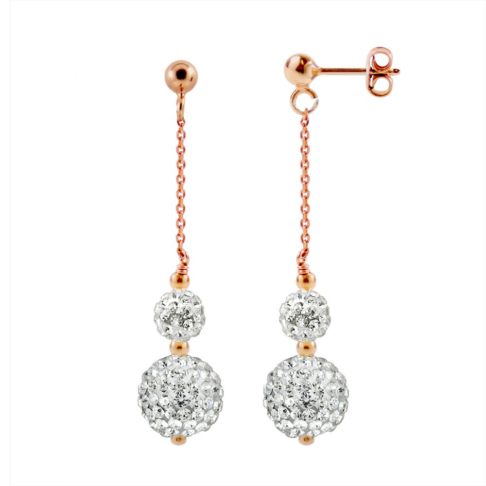 DIADEMA - Earrings Pinky Gold - Crystal White - Collection Crystal Pearl