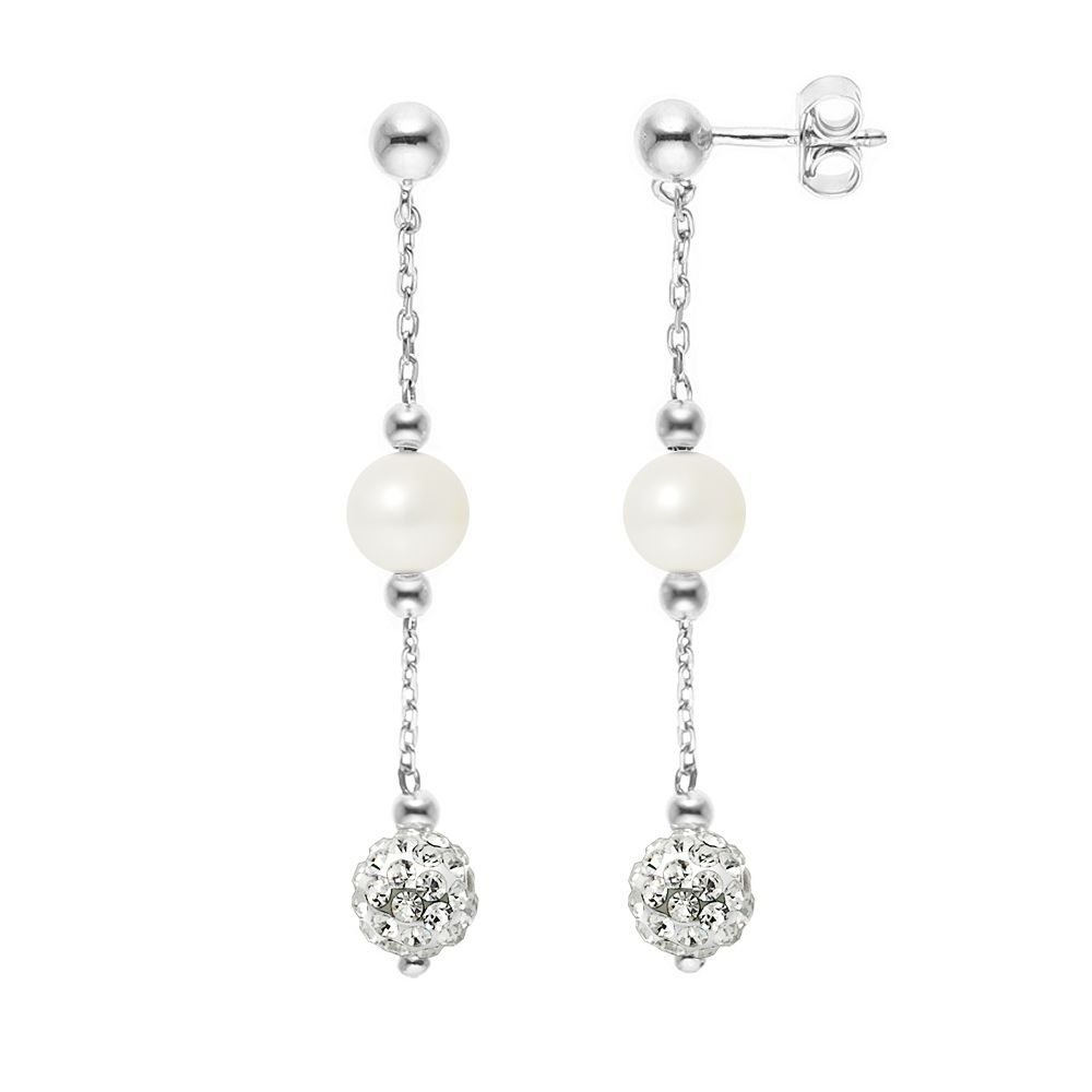 DIADEMA - Earrings - Crystal White & Pearls - Collection Crystal Pearl