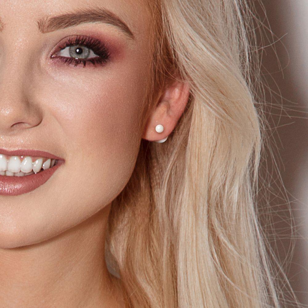 DIADEMA - Earrings - Real Freshwater Pearls - White