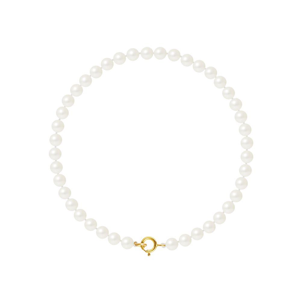 DIADEMA - Bracelet - Real Freshwater Pearls - White - Yellow Gold