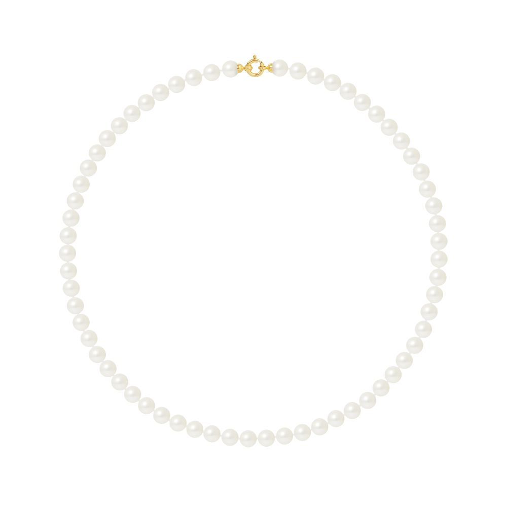 DIADEMA - Necklace - Princess - Real Freshwater Pearls - White - Yellow Gold
