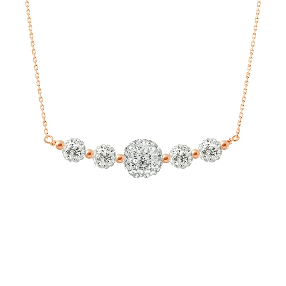 DIADEMA - Necklace Pinky Gold - Crystal White - Love Jewelry Collection