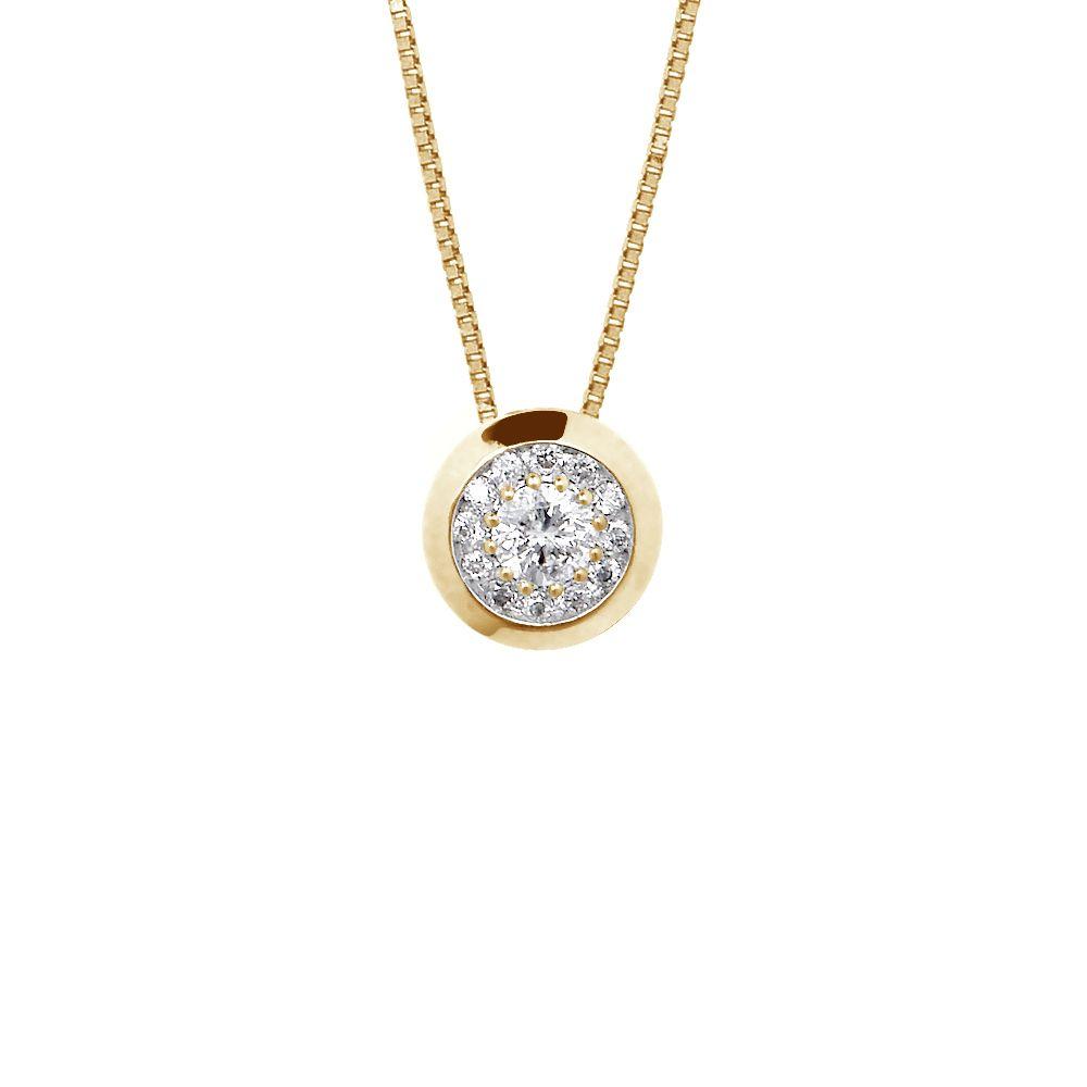 DIADEMA - Necklace with Diamonds - Yellow Gold - Venetian Chain