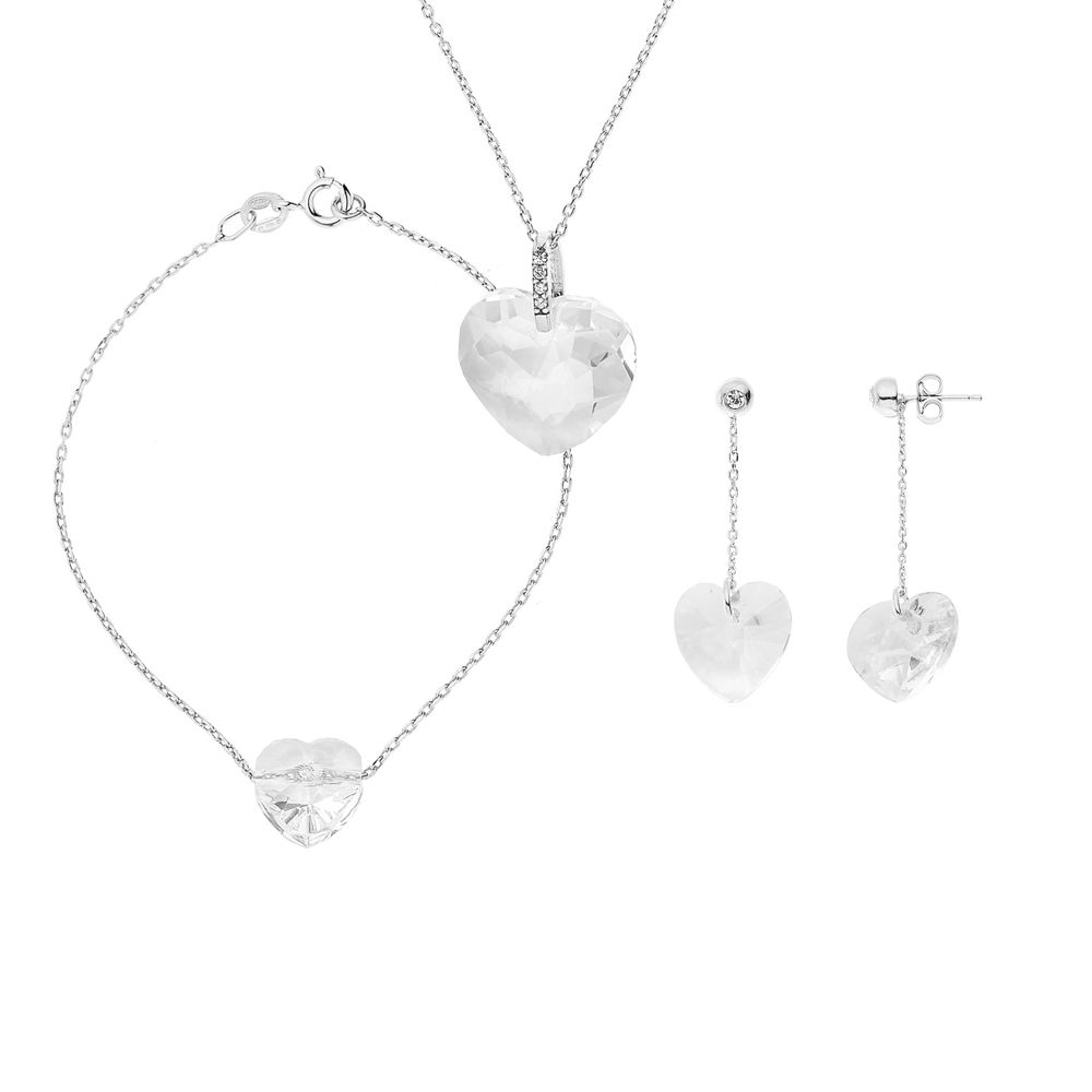 DIADEMA - Set Swarovski Heart - Necklace, Bracelet, Earrings - Love Jewelry Collection