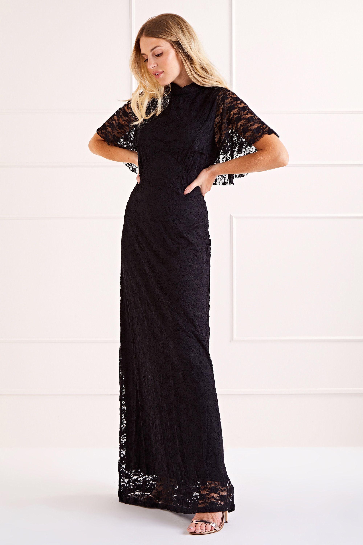 Cape Top Lace Maxi Dress