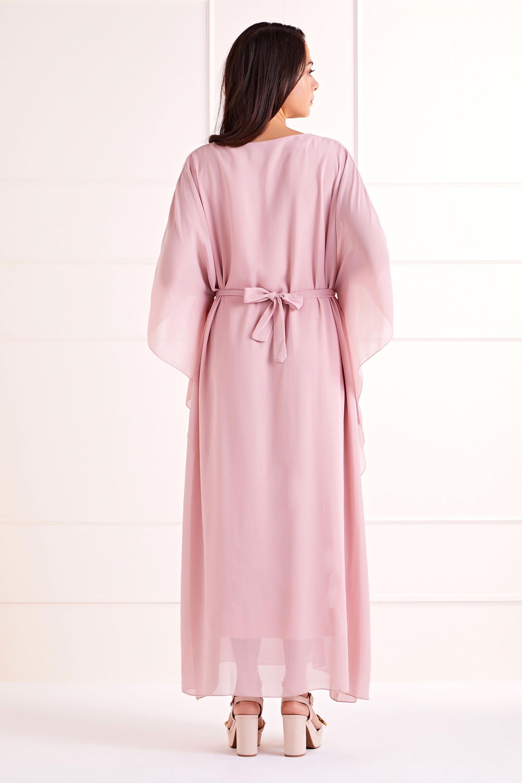 Blush Exaggerated Batwing Maxi Dress