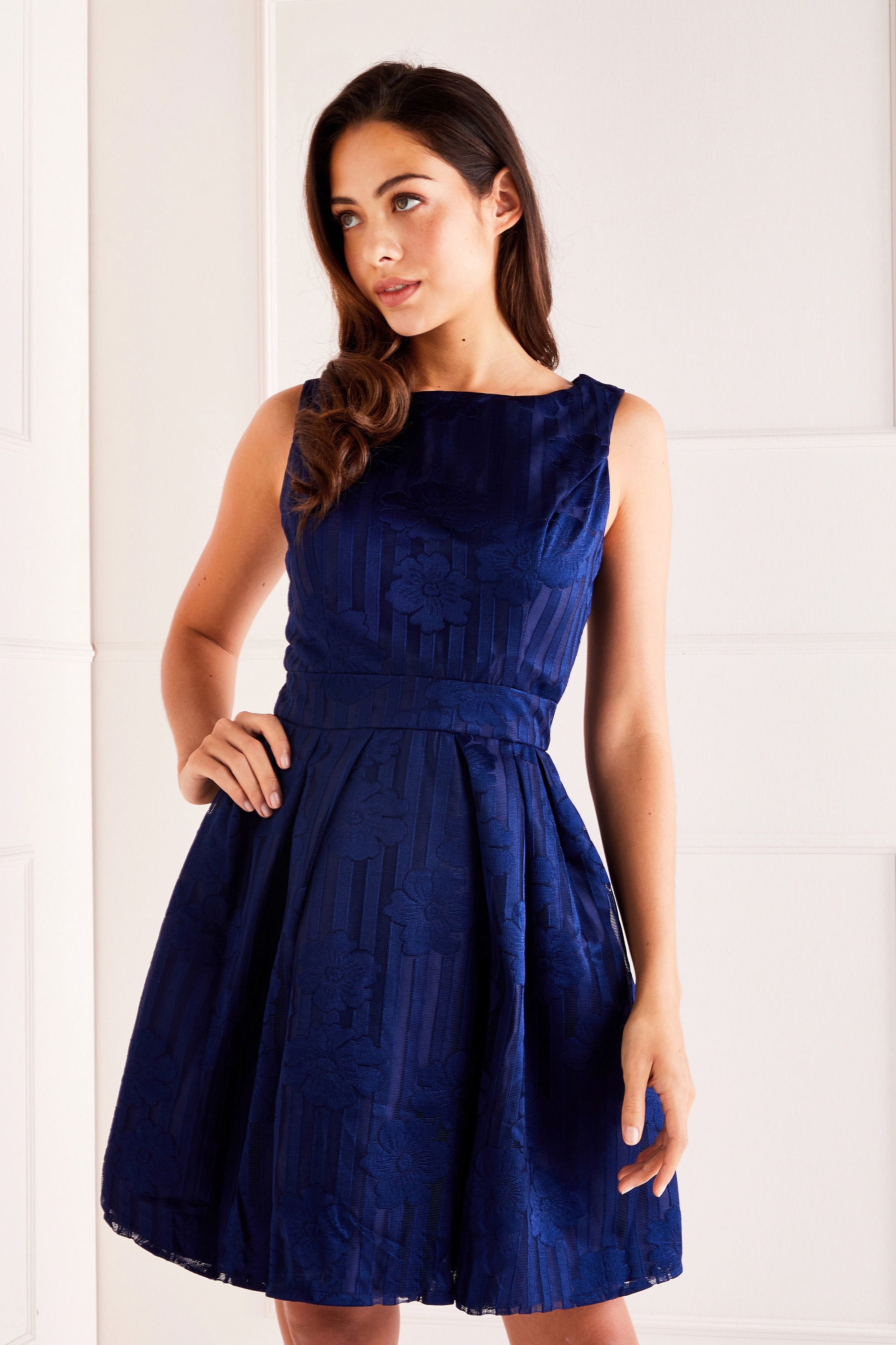 Navy Floral Embossed Prom Dress