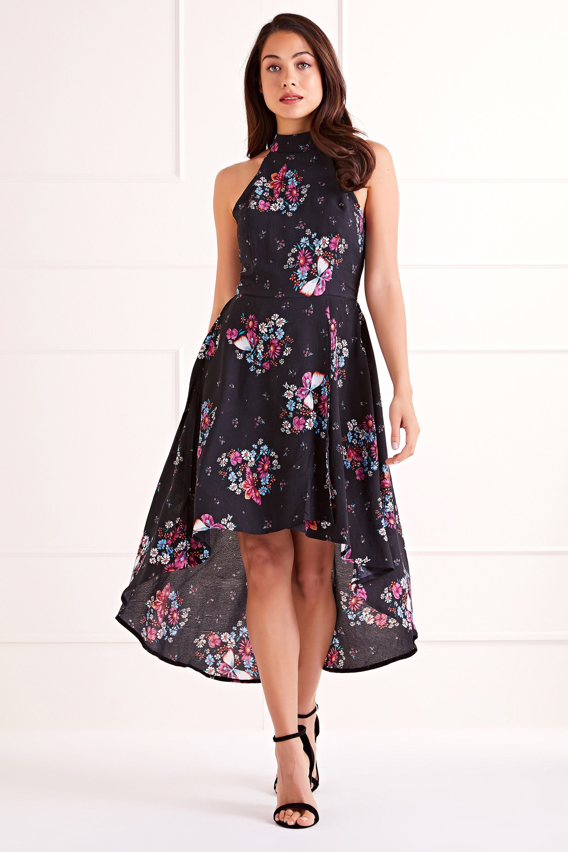 Black Butterfly Print Halter Neck High Low Dress