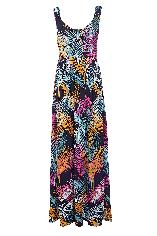 Mela London Multi Coloured Leaf Maxi Dress
