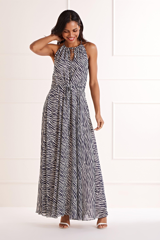 Zebra Stripe Maxi Dress
