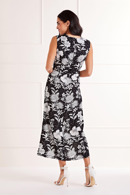 Black Floral And Spot Print Midi Dress