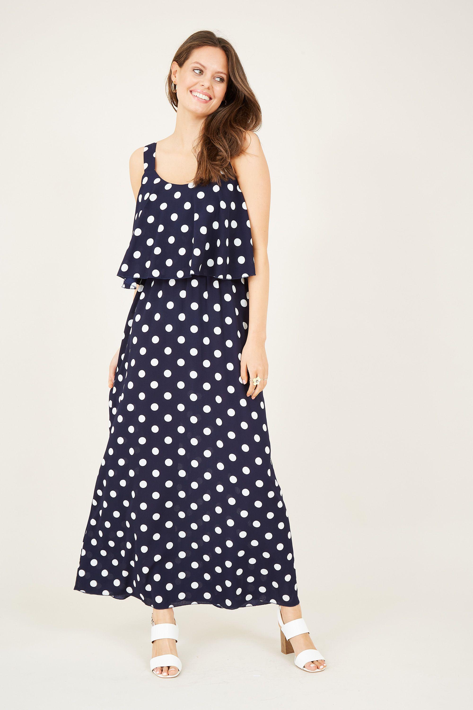 Polka Dot Overlay Maxi Dress