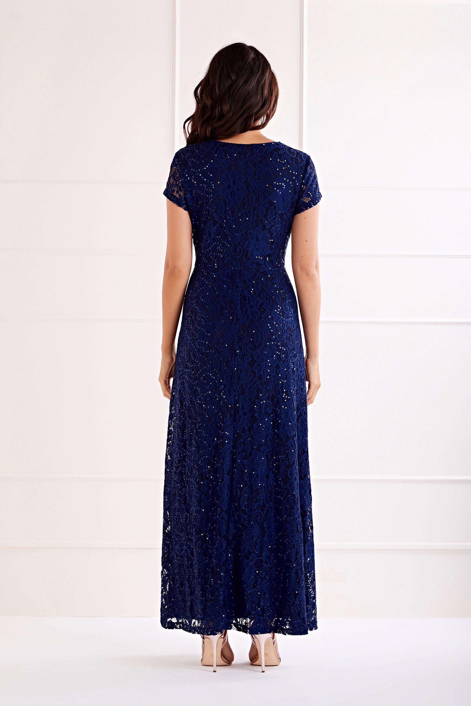 Navy Embellished  V Neck Lace Maxi Dress
