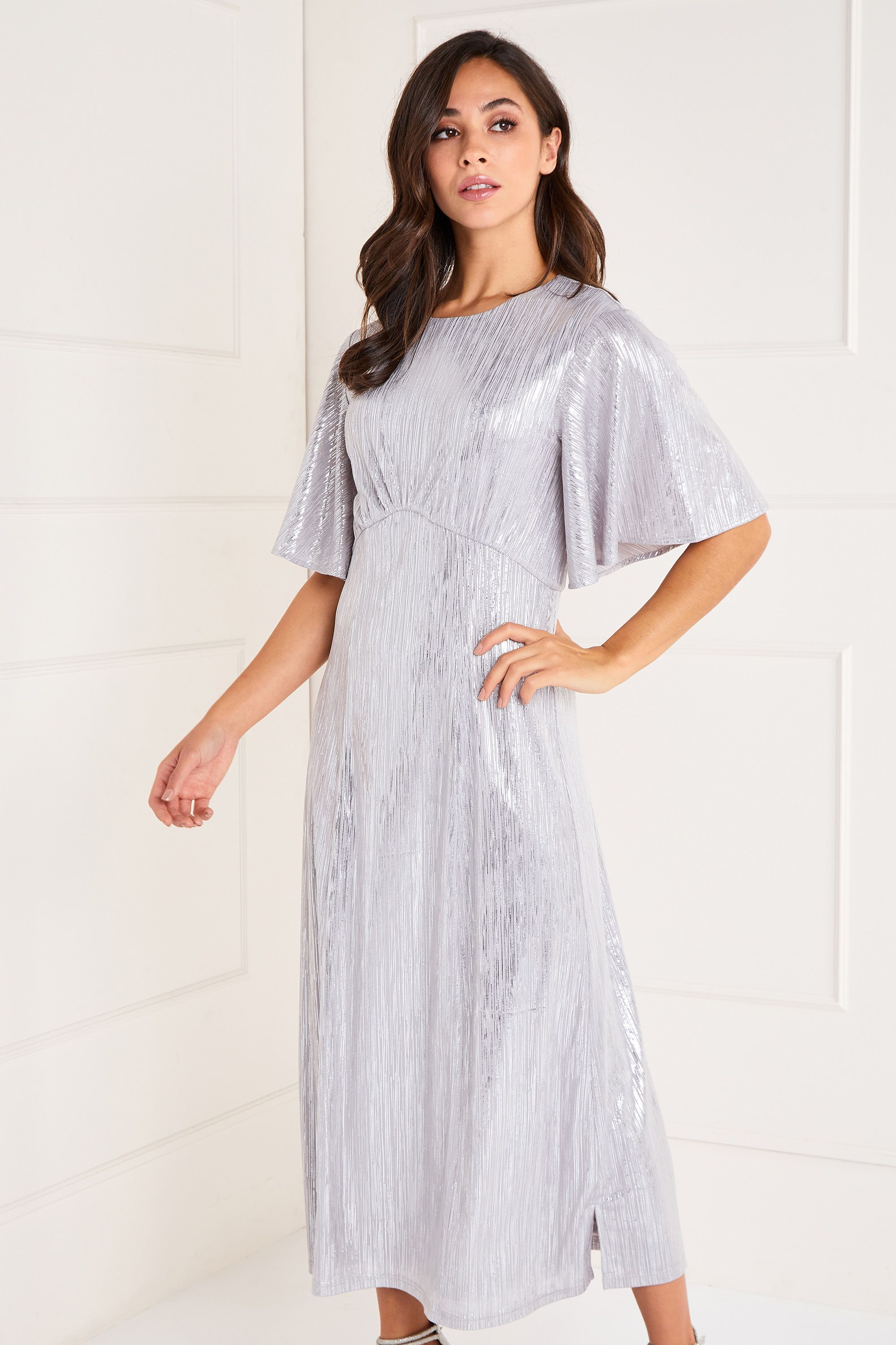 Foil Detailed Ruffle Sleeve Midi Dress