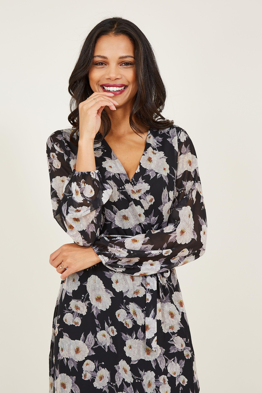 Yumi Floral Printed Asymmetric Wrap Front Dress