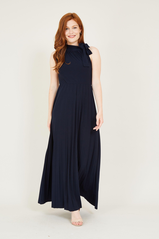 Bow Detail High Neck Maxi Dress